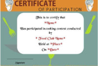 Basic Cooking Class Participation Certificate | Certificate pertaining to Unique Cooking Competition Certificate Templates