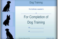 Basic Dog Training Certificate Template {Ppt – Pdf} Formats inside Dog Training Certificate Template