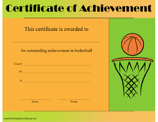 Basketball Achievement Certificate Printable Certificate For Best Basketball Achievement Certificate Templates