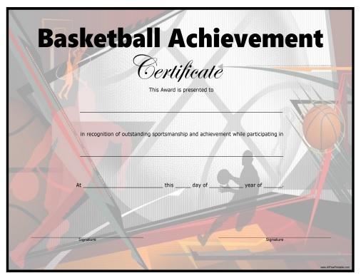 Basketball Certificate - Free Printable - Allfreeprintable For Fresh Basketball Certificate Templates