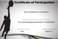 Basketball Certificate Of Participation | Basketball Games in Basketball Tournament Certificate Template Free