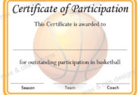 Basketball Certificate Of Participation – Now Fillable Pdf throughout Basketball Participation Certificate Template