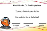 Basketball Certificate Of Participation Template in Best Basketball Certificate Template