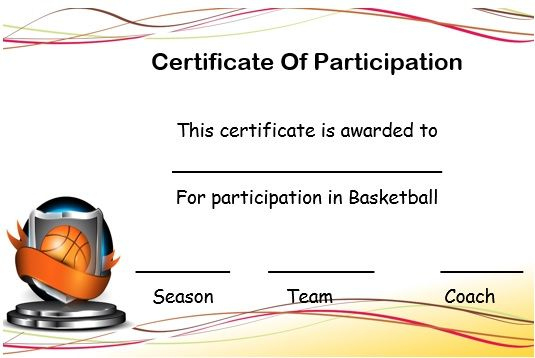 Basketball Certificate Of Participation Template With Regard To Basketball Participation Certificate Template