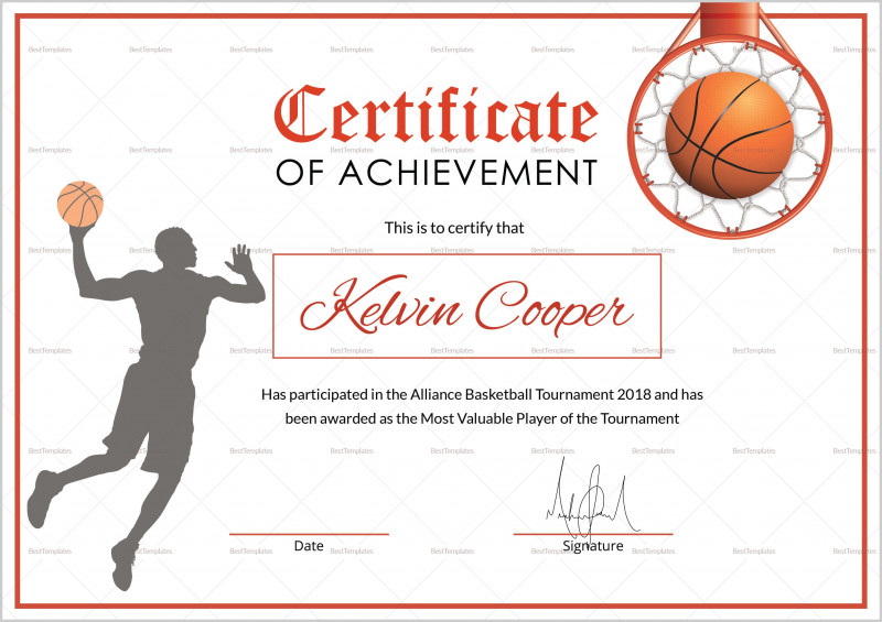 Basketball Certificate Template Unique Athletic Certificate Pertaining To Best Basketball Certificate Template