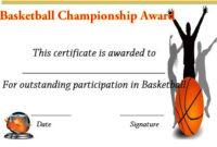 Basketball Championship Certificate | Basketball within Basketball Tournament Certificate Templates
