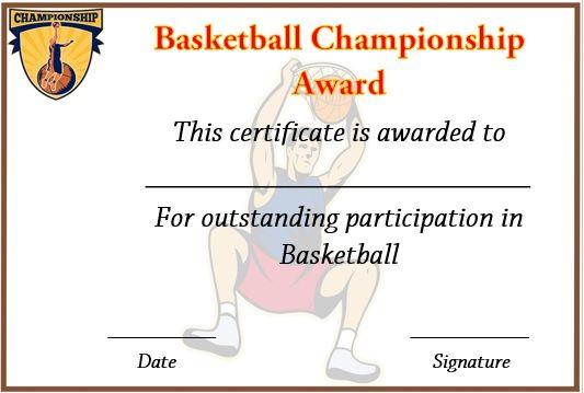 Basketball Championship Certificate Template | Certificate In Certificate Of Championship