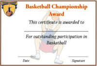 Basketball Championship Certificate Template | Certificate with regard to Unique Basketball Tournament Certificate Template