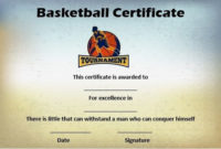 Basketball Mythical 5 Certificate | Certificate Templates for Unique Basketball Mvp Certificate Template
