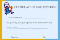 Basketball Participation Certificate: 10+ Free Downloadable regarding Unique Basketball Participation Certificate Template