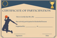 Basketball Participation Certificate: 10+ Free Downloadable throughout Basketball Tournament Certificate Template Free