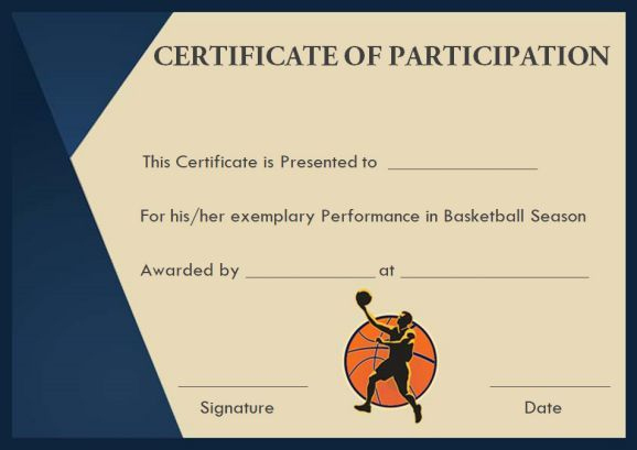 Basketball Participation Certificate: 10+ Free Downloadable With Unique Basketball Participation Certificate Template