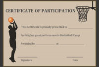 Basketball Participation Certificate Free Printable in Best Basketball Tournament Certificate Template Free