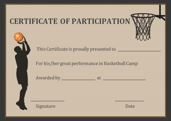 Basketball Participation Certificate Free Printable throughout Basketball Participation Certificate Template