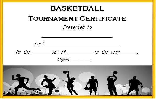 Basketball Tournament Certificate Template | Certificate regarding Basketball Tournament Certificate Template Free