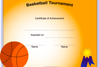 Basketball Tournament Printable Certificate with Basketball Tournament Certificate Template