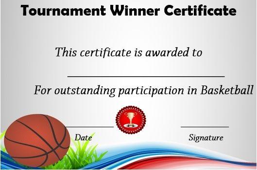 Basketball Tournament Winner Certificate | Basketball Awards Intended For Basketball Tournament Certificate Templates