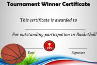 Basketball Tournament Winner Certificate | Basketball Awards within Unique Basketball Tournament Certificate Template