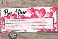 Be Mine, Printable Gift Certificate Template, Valentine'S regarding Best Valentine Gift Certificate Template