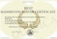 Best-Badminton-Player-Certificate throughout Badminton Achievement Certificates