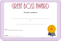 Best Boss Ever Certificate Free Printable (2Nd Design) In in Worlds Best Boss Certificate Templates Free