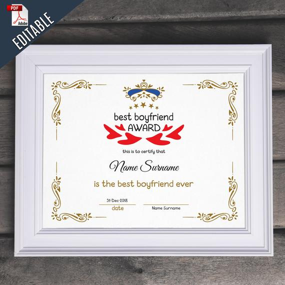 Best Boyfriend Award Editable Template Editable Best Boyfriend Award  Druckbare Beste Boyfriend Vorlage Pdf Instant Download 066 42 Inside Best Boyfriend Certificate Template