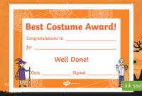 Best Costume Award Halloween Certificate (Teacher Made) intended for Halloween Costume Certificates 7 Ideas Free