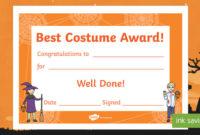 Best Costume Award Halloween Certificate (Teacher Made) pertaining to Unique Halloween Costume Certificate