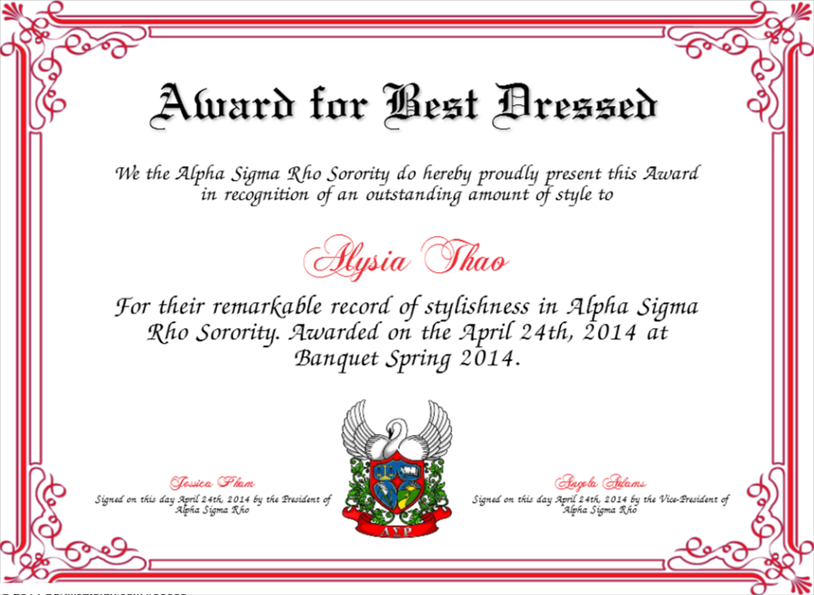 Best Dressed Award Certificate Colorful | Award Certificates Regarding Fresh Best Dressed Certificate