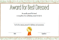Best Dressed Award Certificate Template Free (Costume pertaining to Fresh Best Dressed Certificate