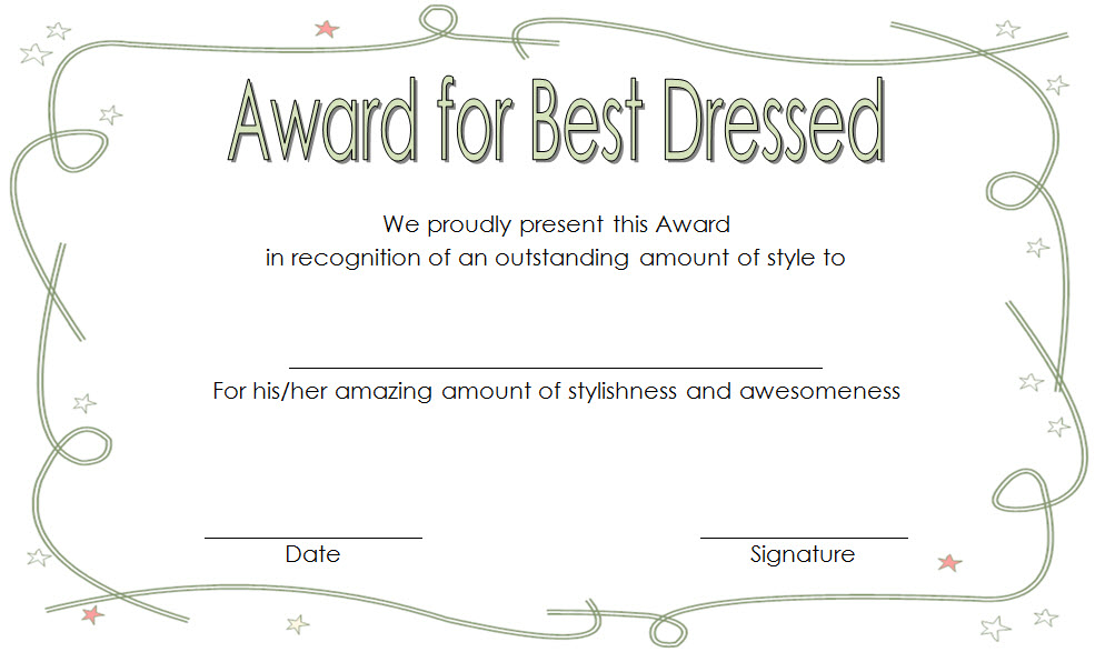 Best Dressed Award Certificate Template Free For Kids In with Best Dressed Certificate