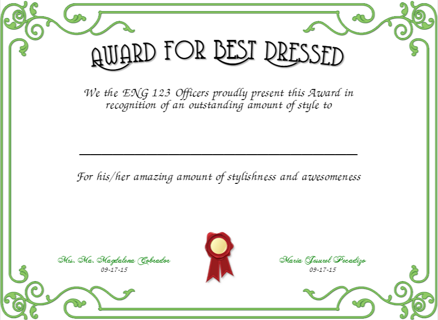 Best Dressed Award Certificates Printable   Activity Shelter With Best Dressed Certificate Templates