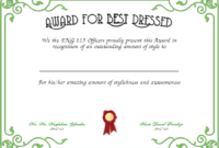 Best Dressed Award Certificates Printable | Activity Shelter with regard to Fresh Best Dressed Certificate