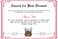 Best Dressed Award Certificates Printable | Activity Shelter within Best Costume Certificate Printable Free 9 Awards