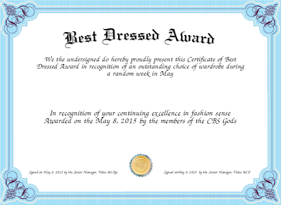 Best Dressed Award – Fashion Dresses Inside Fresh Best Dressed Certificate