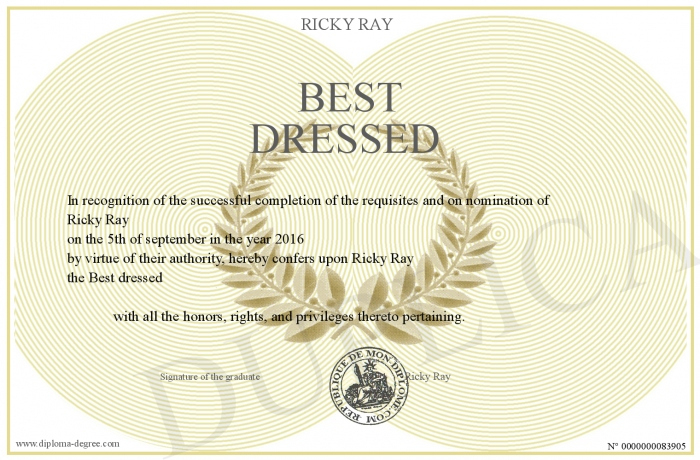 Best Dressed For Fresh Best Dressed Certificate