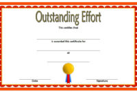 Best Effort Award Template with Outstanding Effort Certificate Template