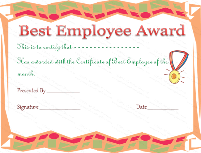 Best Employee Award Certificate In 2020   Employee Awards pertaining to Best Employee Certificate Template