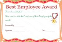 Best Employee Award Certificate In 2020 | Employee Awards with Happy New Year Certificate Template Free 2019 Ideas