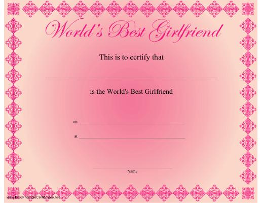 Best Girlfriend Certificate Printable Certificate With Regard To Best Girlfriend Certificate Template