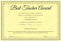 Best Teacher Award 06 – Word Layouts | Teacher Awards, Award pertaining to Fresh Best Teacher Certificate Templates