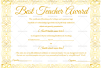 Best Teacher Award Certificate (Elegant, #1237) with regard to Unique Best Teacher Certificate