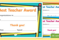 Best Teacher Award Certificate (Teacher Made) with Unique Best Teacher Certificate