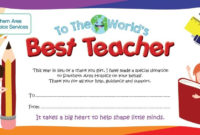 Best Teacher Gift Certificate in Best Teacher Certificate