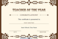 Best Teacher Of The Year Award Certificate Design In Quincy with Best Teacher Certificate