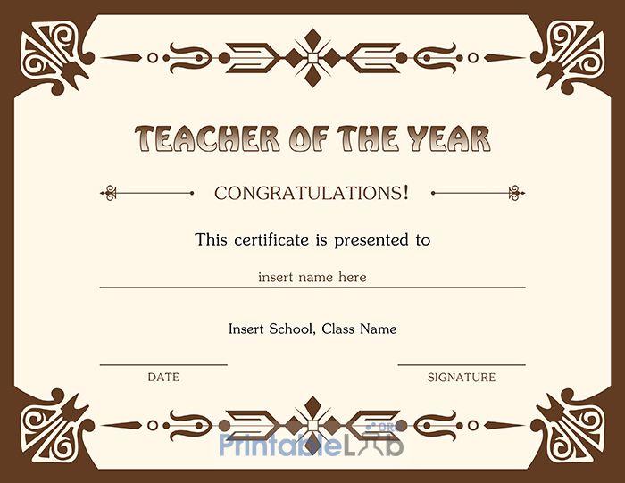 Best Teacher Of The Year Award Certificate Design In Quincy With Best Teacher Certificate