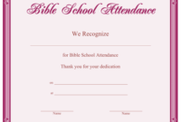 Bible School Attendance Certificate Printable Certificate throughout Best Vbs Attendance Certificate Template
