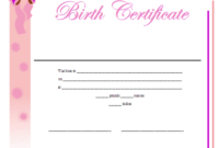 Birth Certificate Printable Certificate | Birth Certificate with Cute Birth Certificate Template