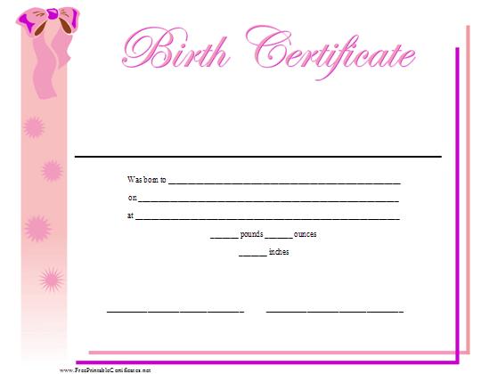 Birth Certificate Printable Certificate | Birth Certificate With Cute Birth Certificate Template