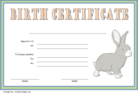 Birth Certificate Template For Rabbit Free 2 | Birth with Fresh Rabbit Adoption Certificate Template 6 Ideas Free
